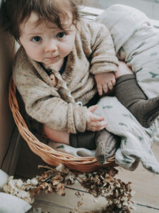 kids photography, kids photography ideas at home, kids fashion, baby sitting in a basket wearing gobabygo